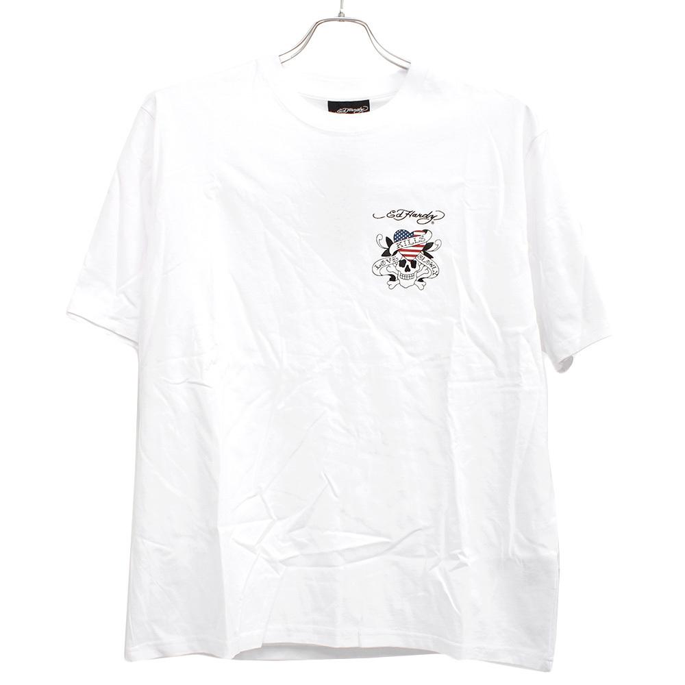 【新品】 4L ホワイト エドハーディー Ed Hardy Tシャツ メンズ 大きいサイズ 半袖 ロゴ デザイン バック プリント クルーネック カットソ_画像4