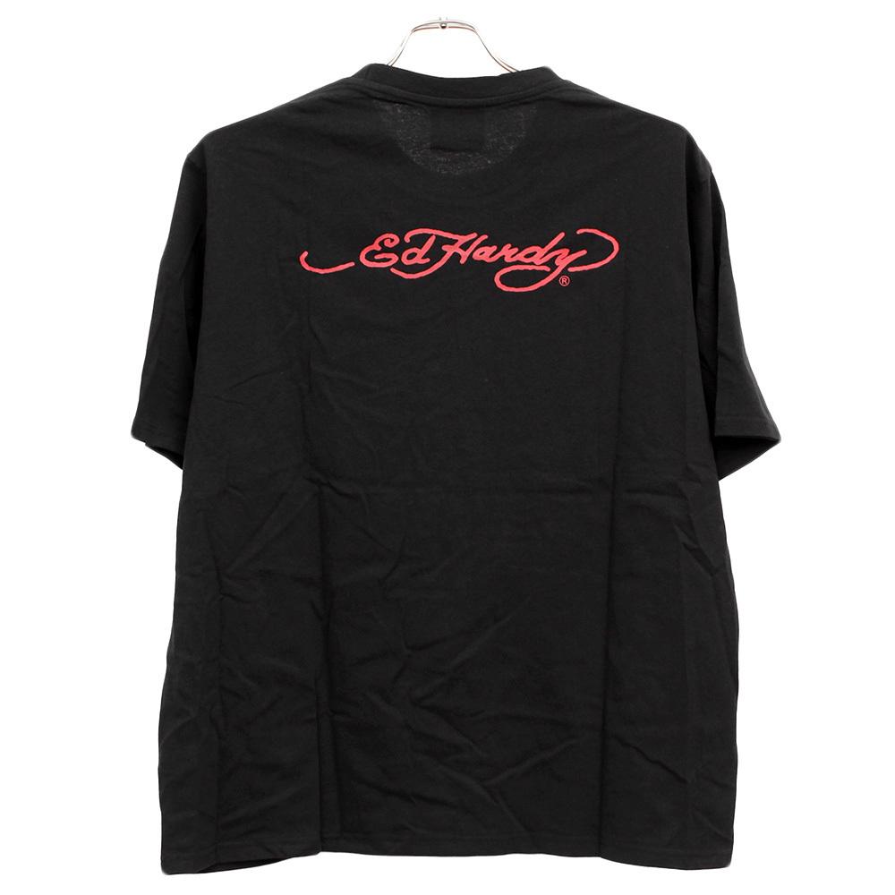 【新品】 3L ブラック エドハーディー Ed Hardy Tシャツ メンズ 大きいサイズ 半袖 ロゴ デザイン バック プリント クルーネック カットソ_画像7