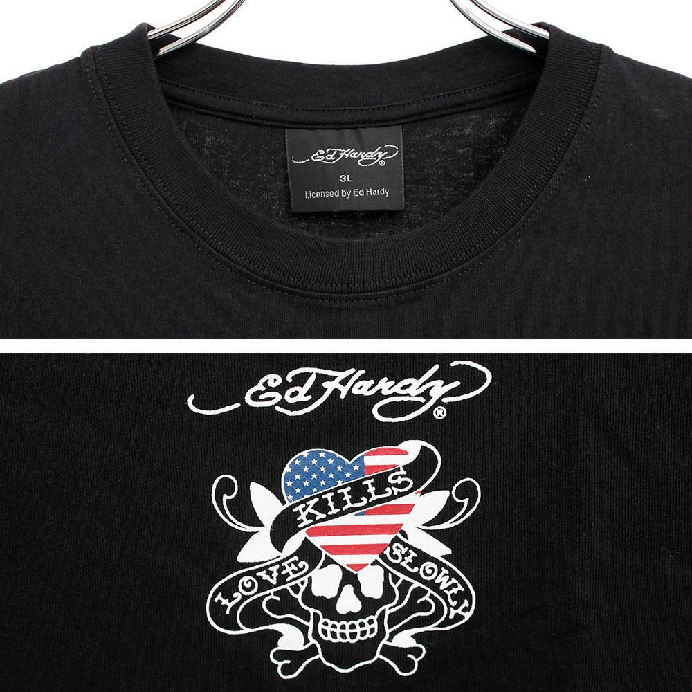 【新品】 3L ブラック エドハーディー Ed Hardy Tシャツ メンズ 大きいサイズ 半袖 ロゴ デザイン バック プリント クルーネック カットソ_画像6
