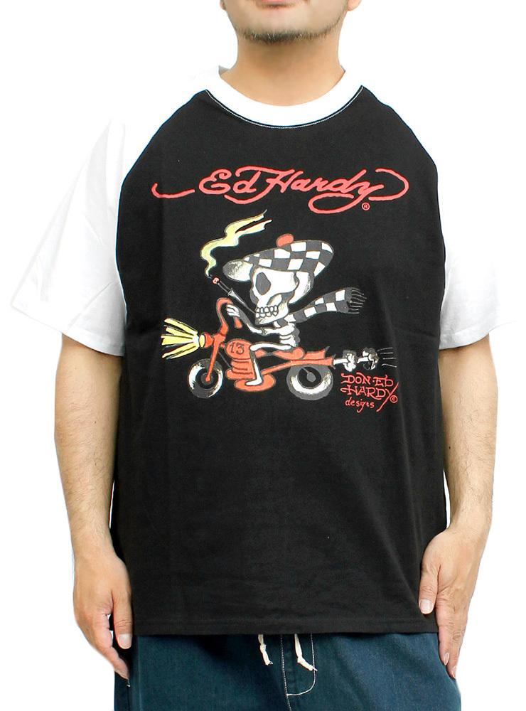 【新品】 3L ブラック エドハーディー Ed Hardy 半袖 Tシャツ メンズ 大きいサイズ デザイン プリント ラグラン クルーネック カットソー_画像1