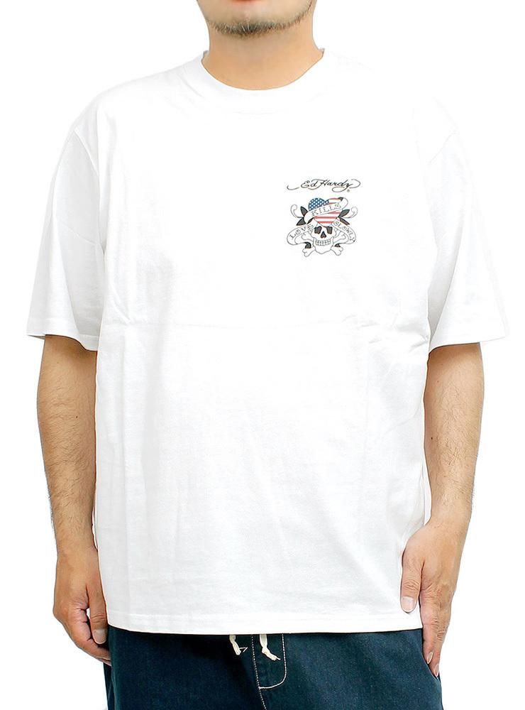 【新品】 6L ホワイト エドハーディー Ed Hardy Tシャツ メンズ 大きいサイズ 半袖 ロゴ デザイン バック プリント クルーネック カットソ_画像1