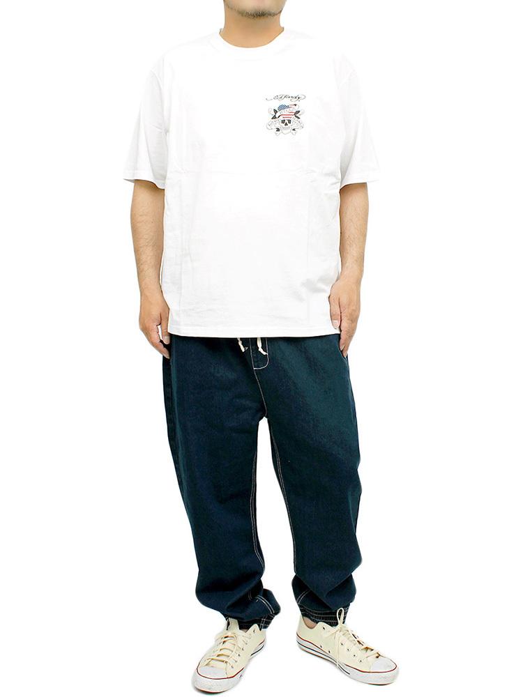 【新品】 6L ホワイト エドハーディー Ed Hardy Tシャツ メンズ 大きいサイズ 半袖 ロゴ デザイン バック プリント クルーネック カットソ_画像3