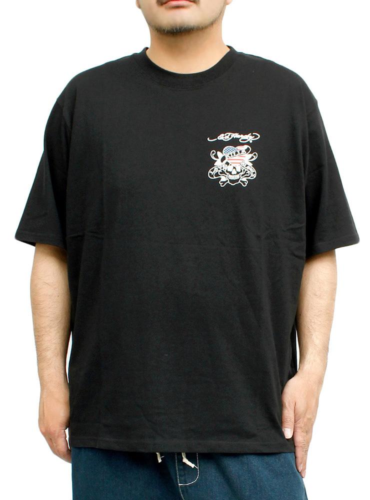 【新品】 3L ブラック エドハーディー Ed Hardy Tシャツ メンズ 大きいサイズ 半袖 ロゴ デザイン バック プリント クルーネック カットソ_画像1