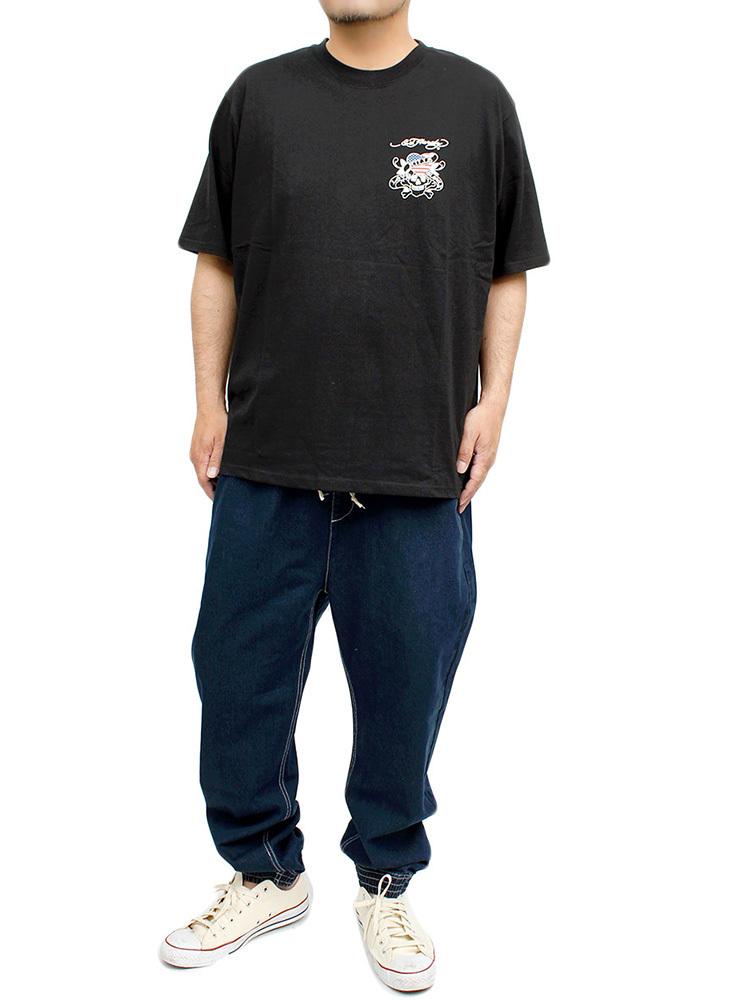 【新品】 3L ブラック エドハーディー Ed Hardy Tシャツ メンズ 大きいサイズ 半袖 ロゴ デザイン バック プリント クルーネック カットソ_画像3