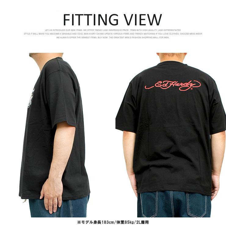【新品】 3L ブラック エドハーディー Ed Hardy Tシャツ メンズ 大きいサイズ 半袖 ロゴ デザイン バック プリント クルーネック カットソ_画像5
