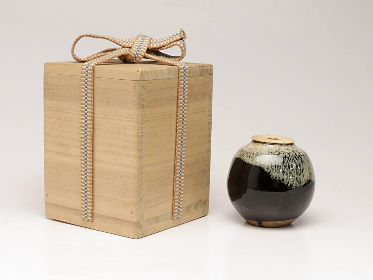 【蔵】朝鮮唐津茶入 茶入 茶道具 茶器 煎茶道具 煎茶器 茶筒 仕覆付き Y220_画像1