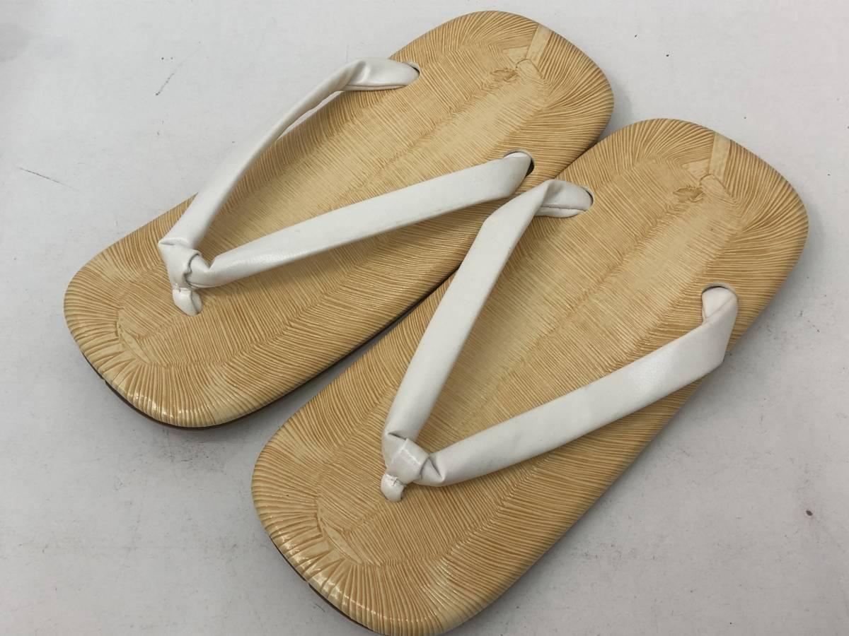 【F-8】  雪駄 日本製 黄タタミ 草履 二枚芯 白鼻緒 Lサイズ 未使用 その1_画像1
