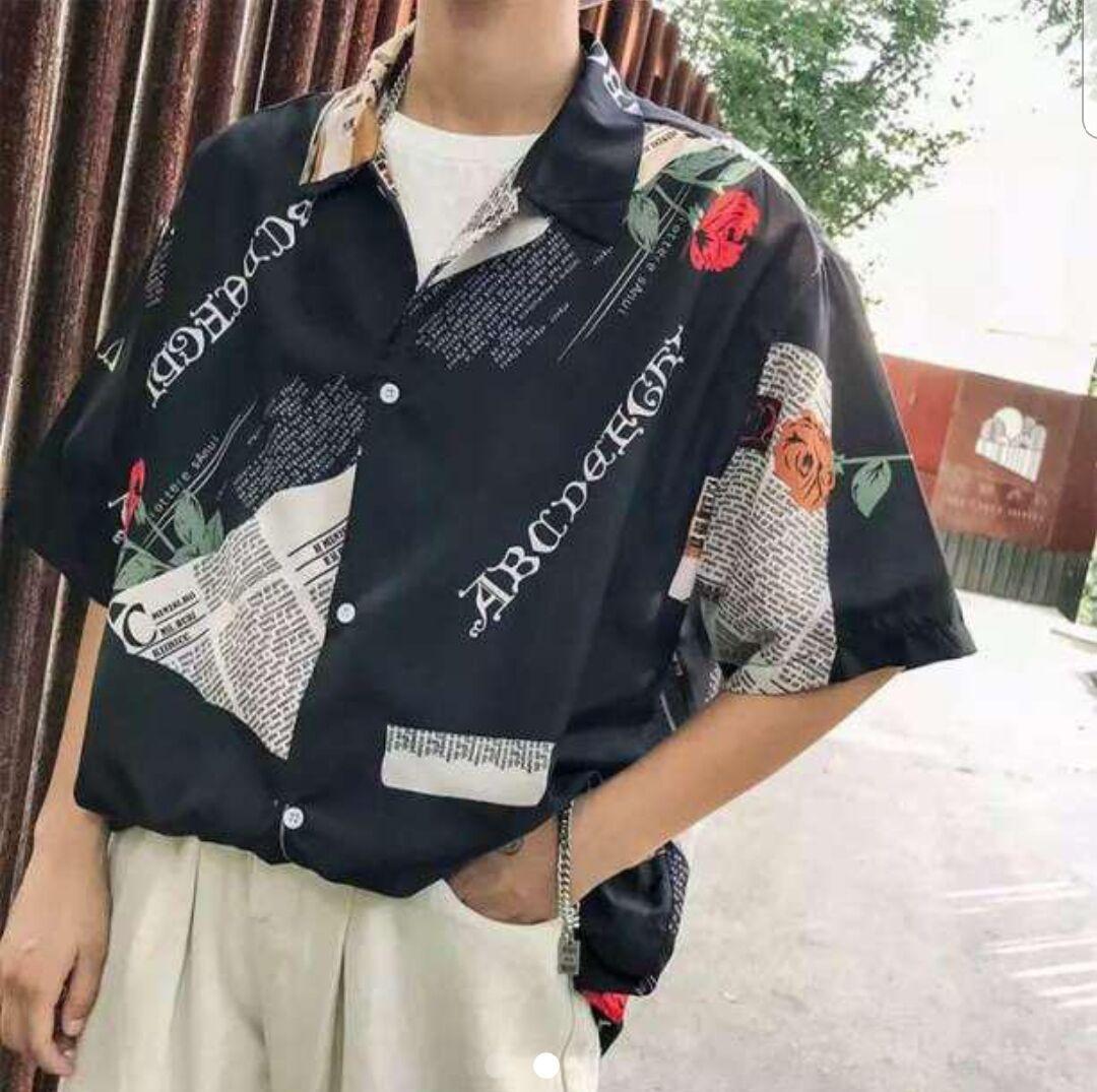 メンズ シャツ 半袖 柄 トレンド バラ プリント ブラック 大きめ
