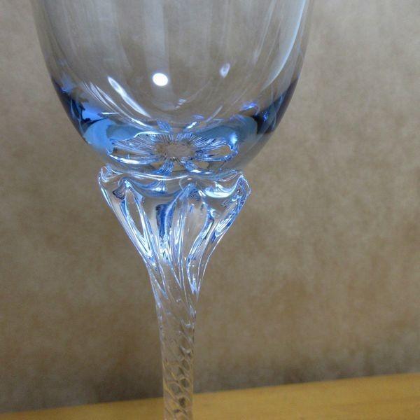 未使用 ササキクリスタル ワイングラス ペア 2個セット made in japan 日本製 佐々木 ブルー ピンク スパイラル_画像4
