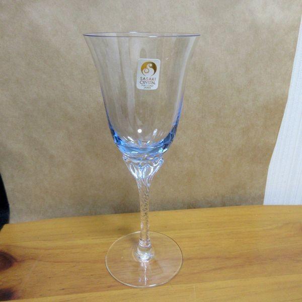 未使用 ササキクリスタル ワイングラス ペア 2個セット made in japan 日本製 佐々木 ブルー ピンク スパイラル_画像2