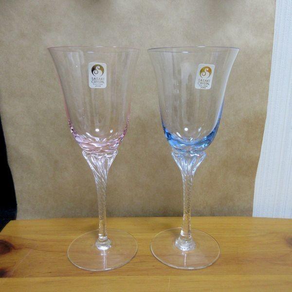 未使用 ササキクリスタル ワイングラス ペア 2個セット made in japan 日本製 佐々木 ブルー ピンク スパイラル_画像1