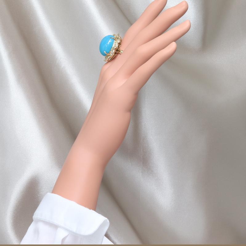 PR313862 【トルコ石】 推定 21ct 12号 ターコイズ ダイヤリング K18 イエローゴールド 当社の保証カード 日本宝石科学協会 鑑別書_画像9