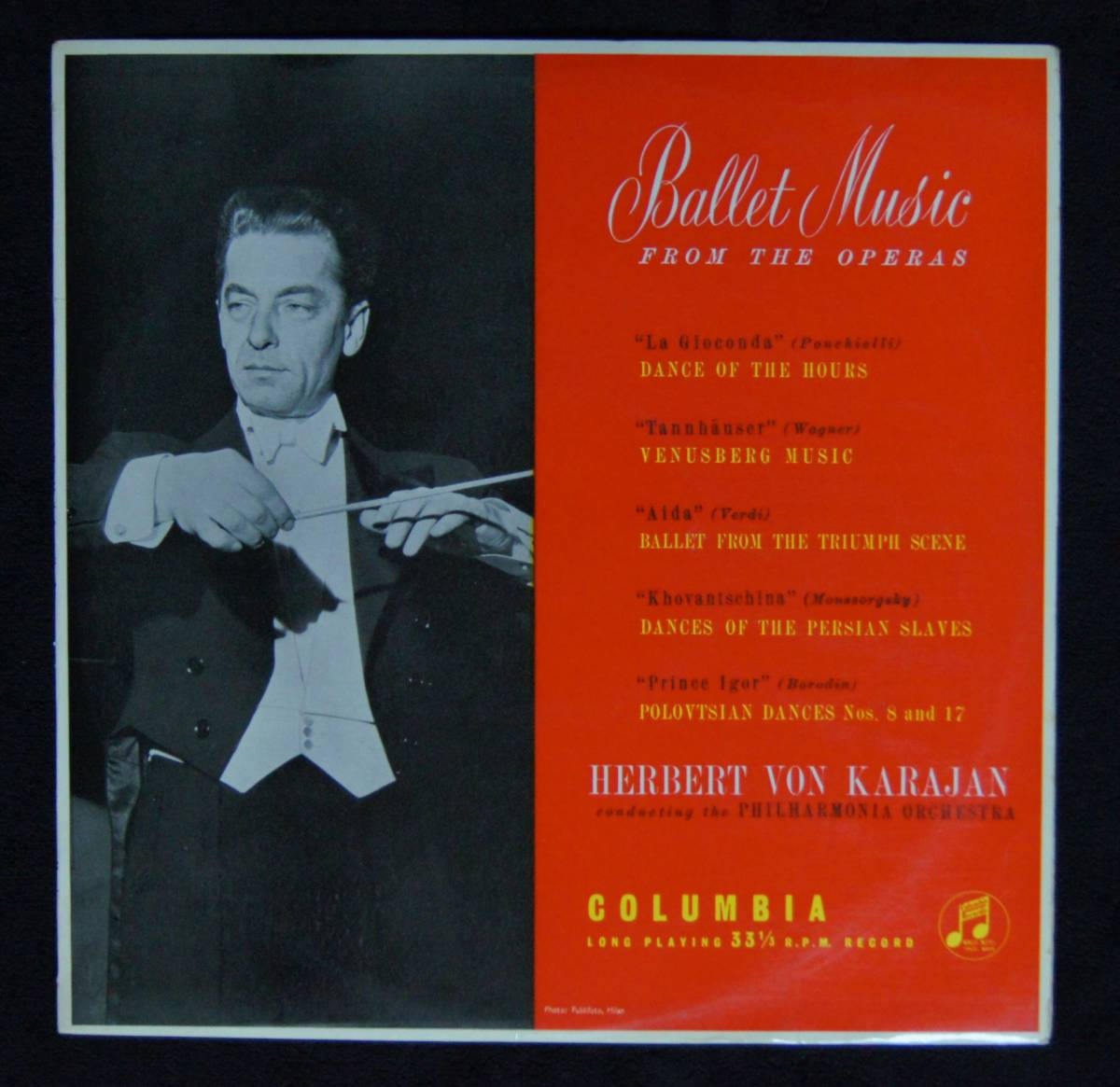 ヘルベルト・フォン・カラヤン/フィルハーモニア管弦楽団【33CX 1327 キズ盤】「オペラ・バレエ音楽集」_画像1