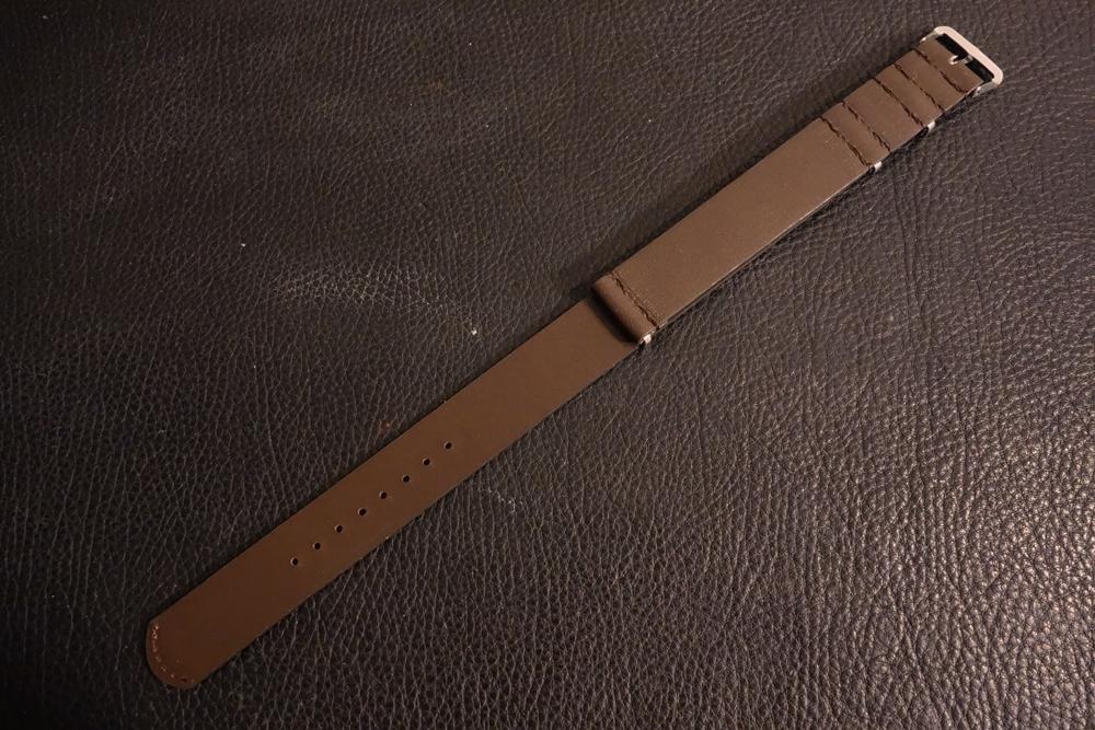 ◆レザーNATO G10ストラップ◆ オイルドカーフレザー ブラウン 22mm 強力撥水 新品 日本製 本革 黒 ミリタリー ブレスレット 腕時計ベルト_画像5
