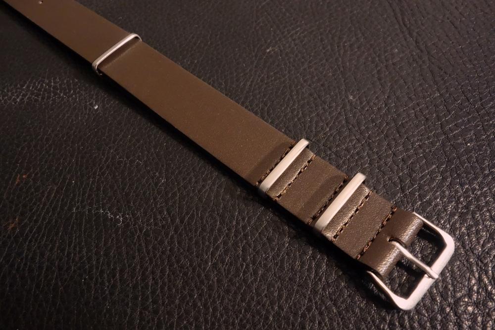 ◆レザーNATO G10ストラップ◆ オイルドカーフレザー ブラウン 22mm 強力撥水 新品 日本製 本革 黒 ミリタリー ブレスレット 腕時計ベルト_画像2