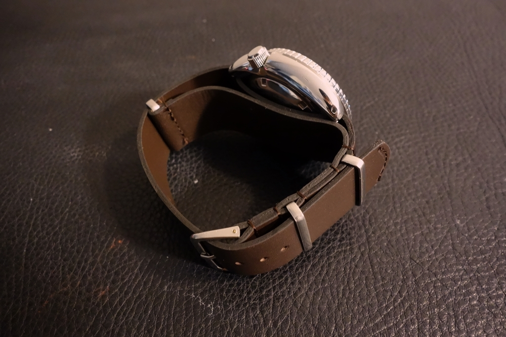 ◆レザーNATO G10ストラップ◆ オイルドカーフレザー ブラウン 22mm 強力撥水 新品 日本製 本革 黒 ミリタリー ブレスレット 腕時計ベルト_画像7