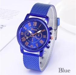 腕時計 時計 ギリシャ文字 ステンレス メッシュ アナログ メンズ クォーツ ファッション時計 男女兼用 オシャレ ウォッチ ブルー 22_画像2