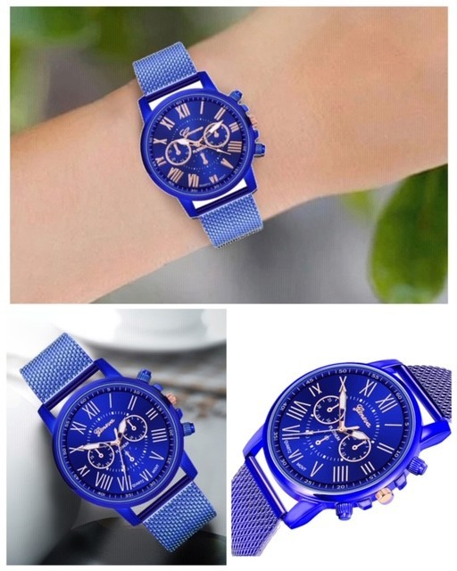 腕時計 時計 ギリシャ文字 ステンレス メッシュ アナログ メンズ クォーツ ファッション時計 男女兼用 オシャレ ウォッチ ブルー 22_画像3