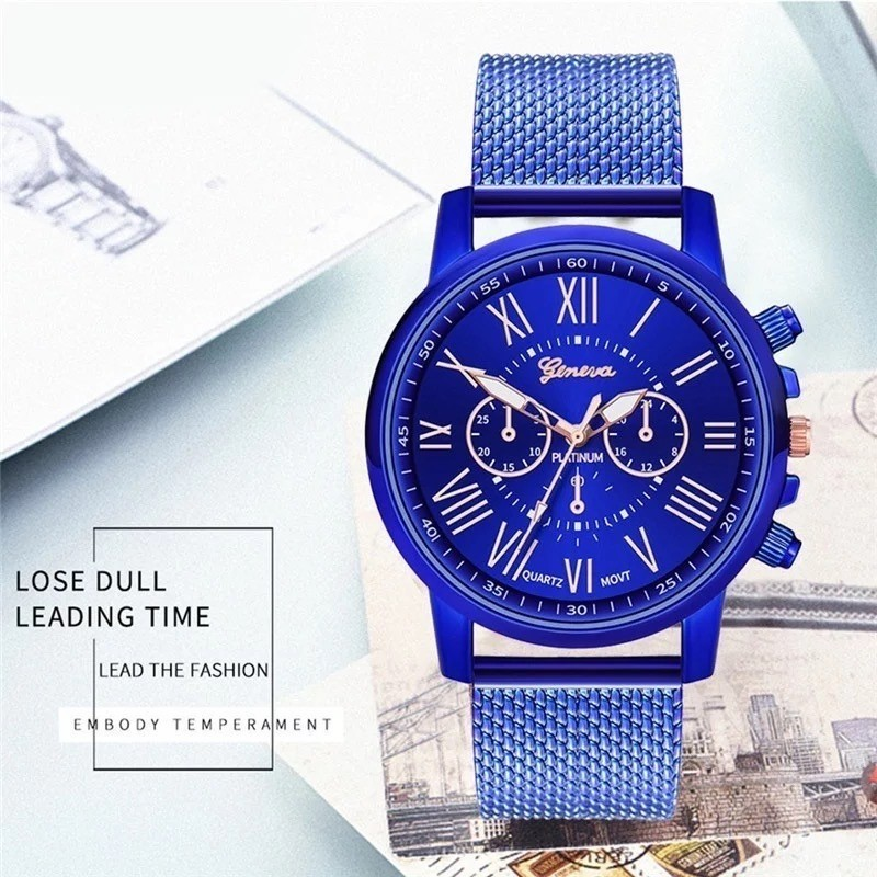 腕時計 時計 ギリシャ文字 ステンレス メッシュ アナログ メンズ クォーツ ファッション時計 男女兼用 オシャレ ウォッチ ブルー 22_画像1