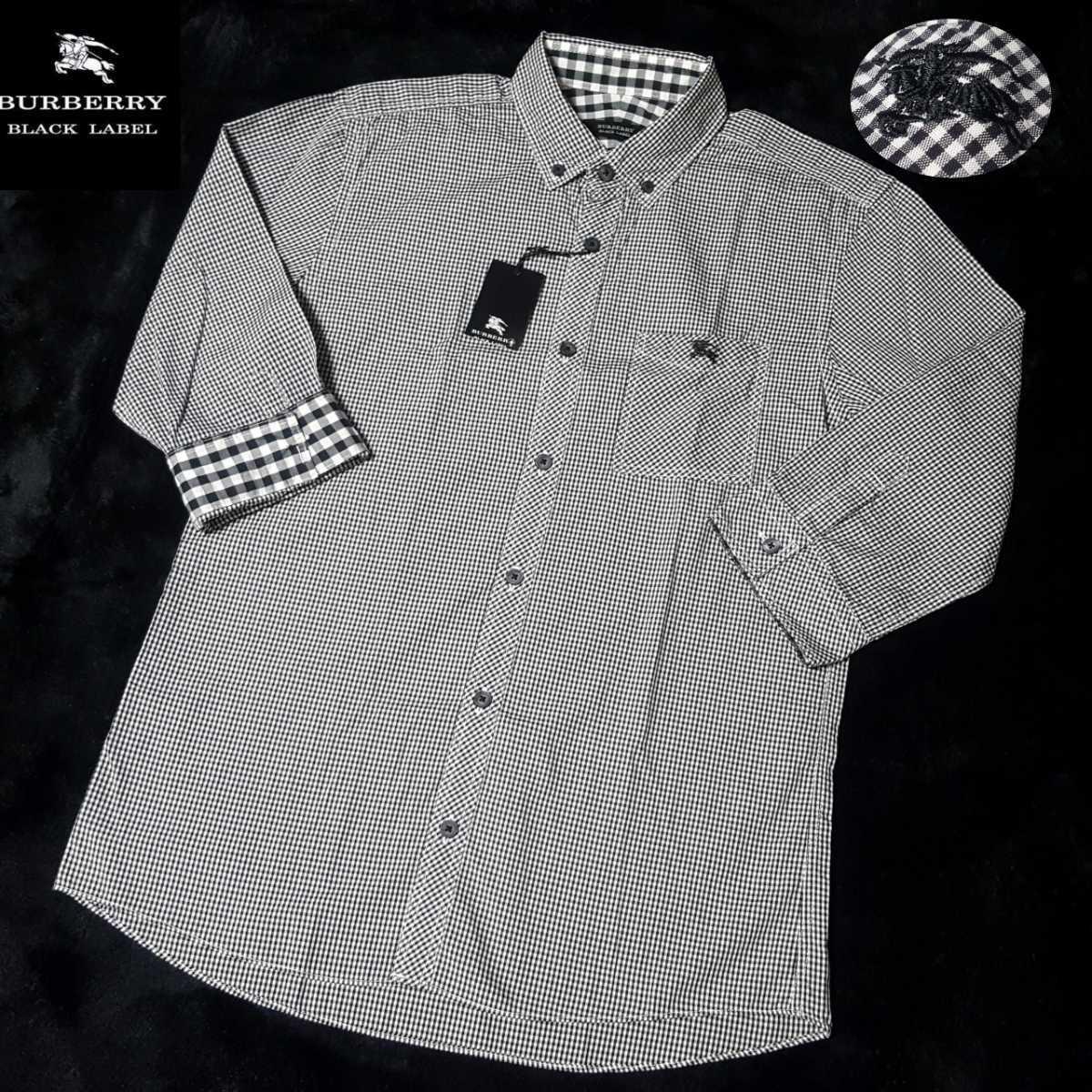 ◆新品◆未使用タグ付◆バーバリーブラックレーベル ホース刺繍 襟内・袖裏BIG格子 ギンガムチェック総柄 7分袖 BDシャツ サイズ2(M)