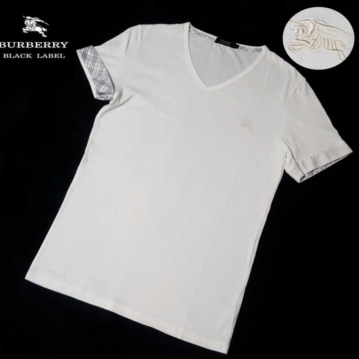 ◆極美品◆溢れる高級感◆バーバリーブラックレーベル BIGホース刺繍 袖裏ホワイトノバチェック Vネック Tシャツ カットソー サイズM