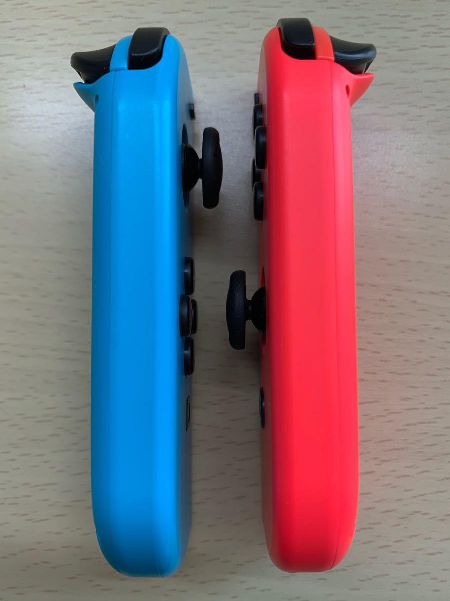 【美品】スイッチ ジョイコン 左右ネオンブルー レッド ストラップ付き M