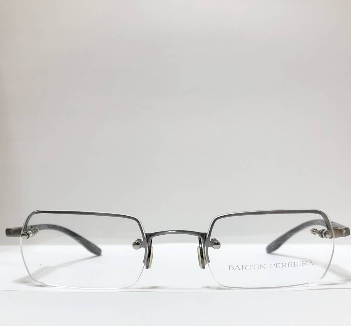 定価 84000円 バートンペレイラ ヘリックス 正規日本製 六角形レンズ 黒・シルバー メガネ 純正ケース付き Barton Perreira 米国ブランド_画像1