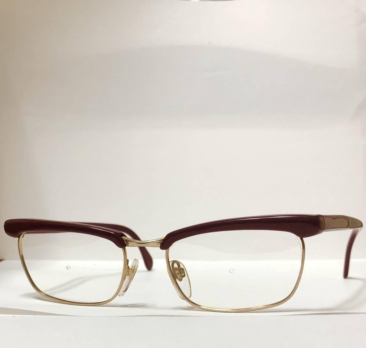 1960年代・新品】西ドイツ製ローデンストック 純正 Rodenstock 12K金張 ベッティーナ 赤茶色145サイズ メガネ_画像3