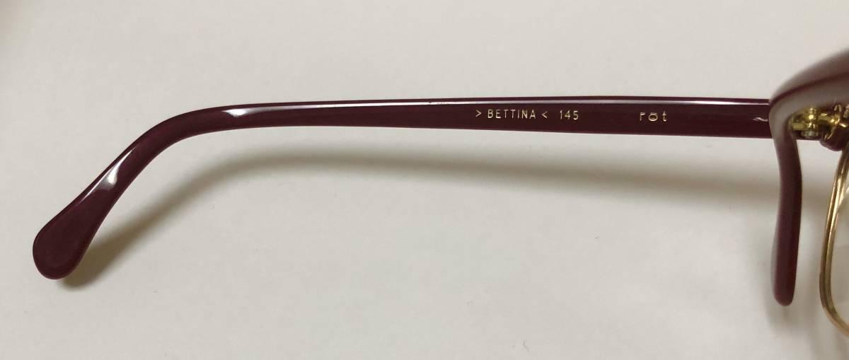 1960年代・新品】西ドイツ製ローデンストック 純正 Rodenstock 12K金張 ベッティーナ 赤茶色145サイズ メガネ_画像7