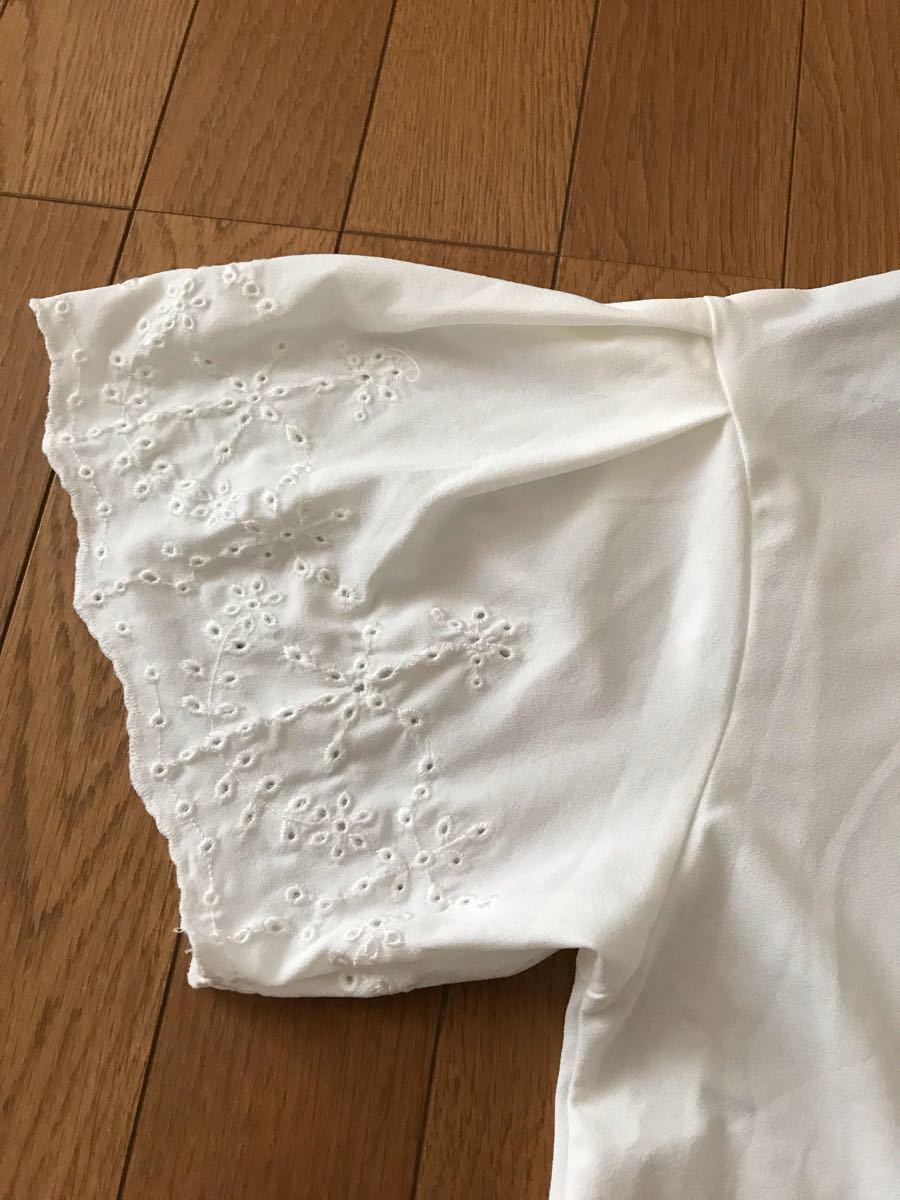 トップス ブラウス カットソー 半袖 白 Lサイズ