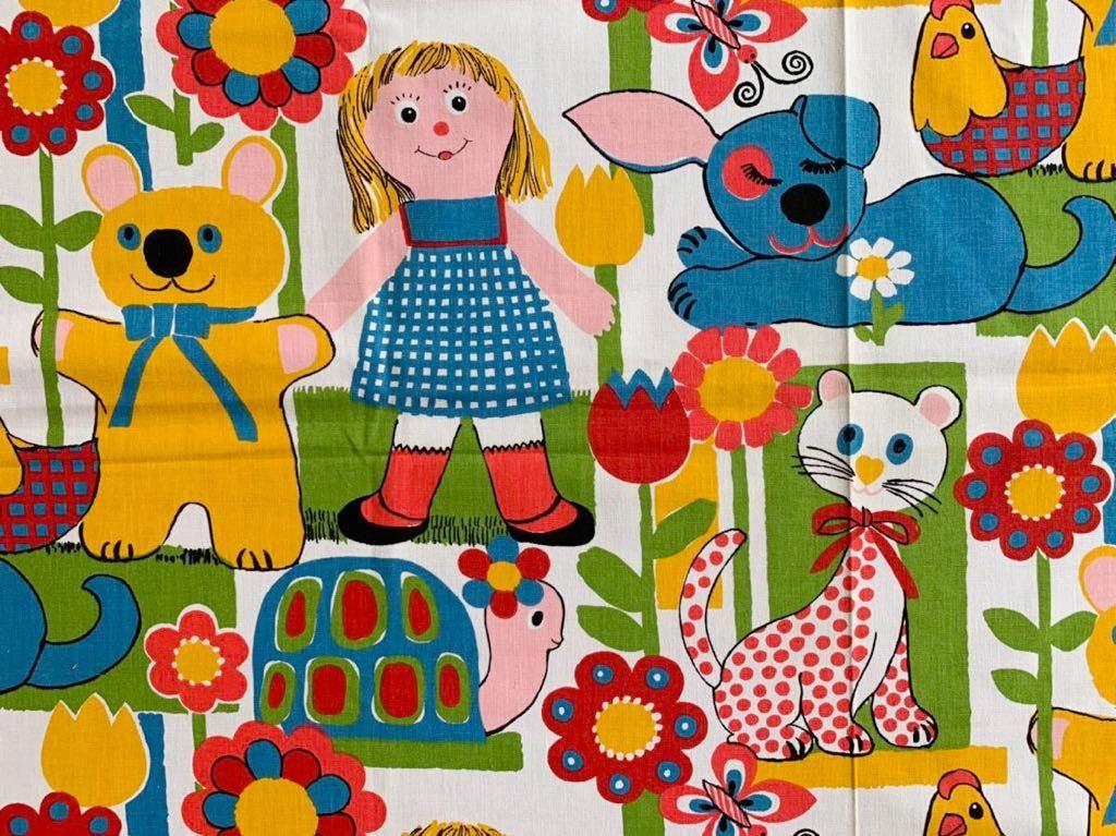 113×195 子供柄 動物柄 デットストック 生地 はぎれ ビンテージ 70's リメイク 雑貨 コレクター アンティーク ハンドメイド 手作り 厚手布