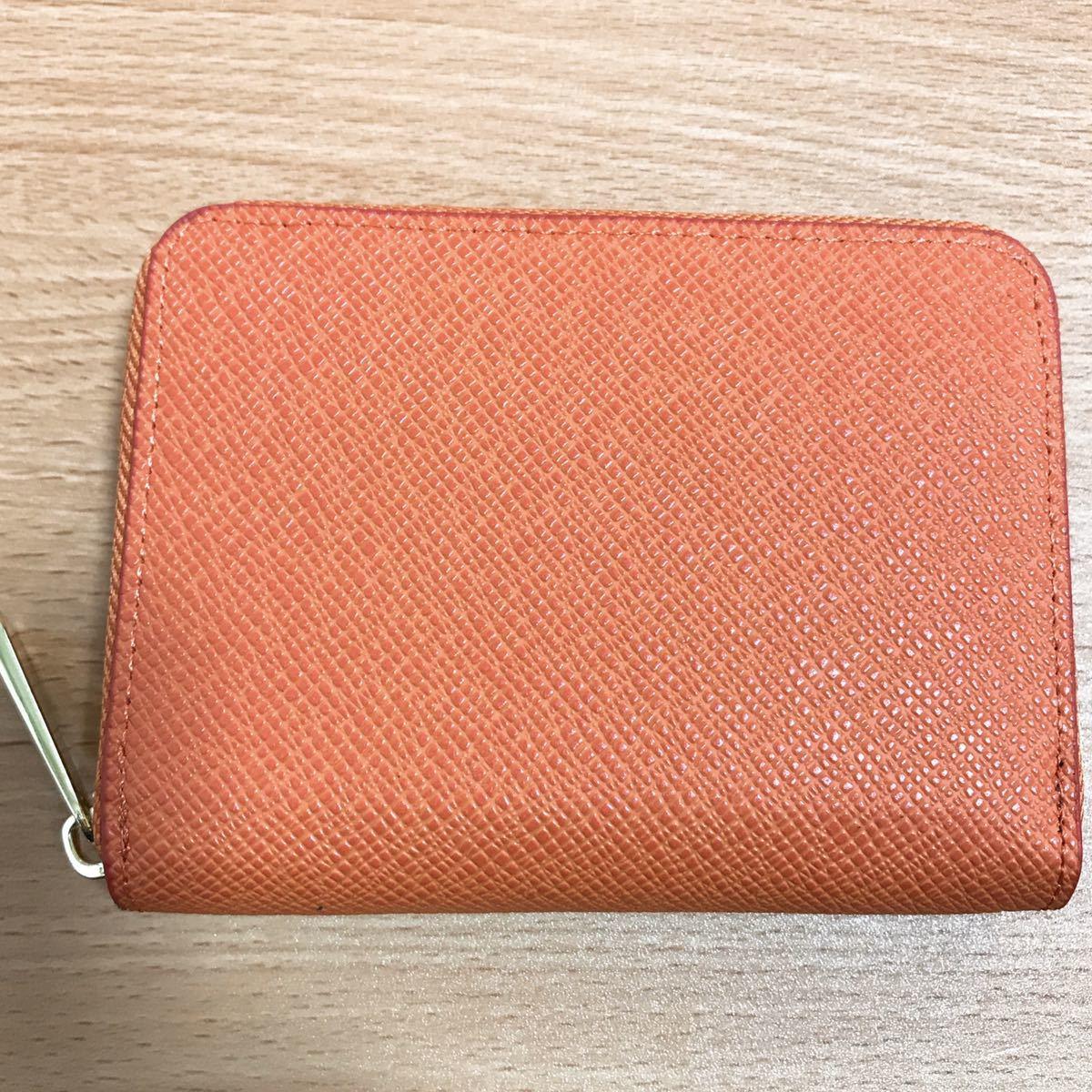 コインケース オレンジ ラウンドファスナー 小銭入れ カードケース 大容量