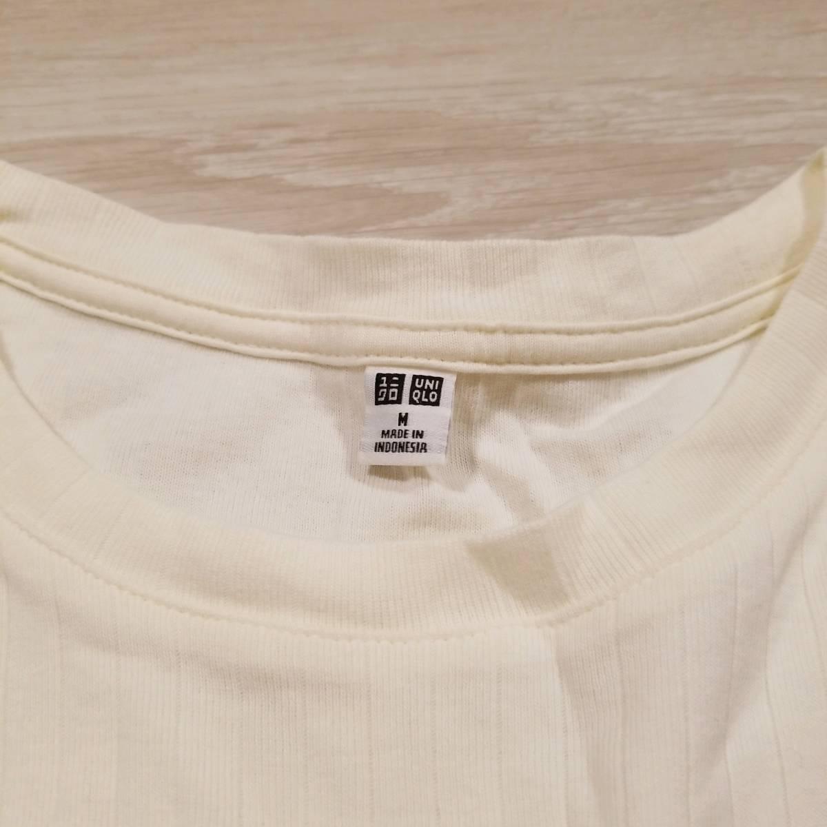 K449 UNIQLO ユニクロ タンクトップ M レディース ノースリーブ シャツ カットソー 白系 綿100% コットン リブ スリット..