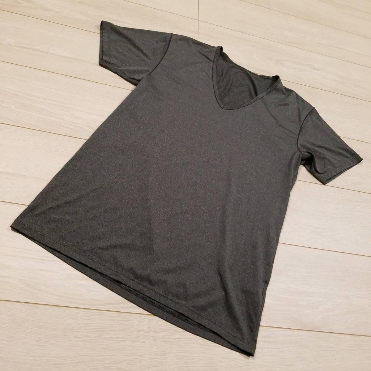 K546 UNIQLO ユニクロ AIRism エアリズム Tシャツ S メンズ カットソー 半袖 グレー系 Vネック .