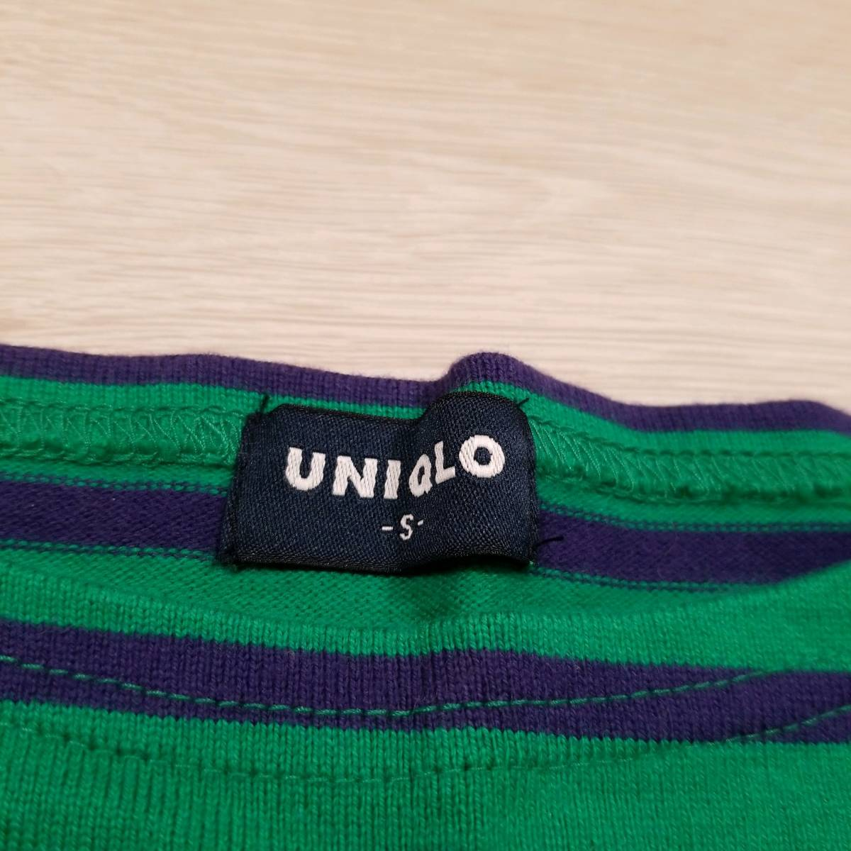 K559 最終値下げ UNIQLO ユニクロ Tシャツ S メンズ カットソー 半袖 緑系 グリーン系 綿100% コットン ボーダー..