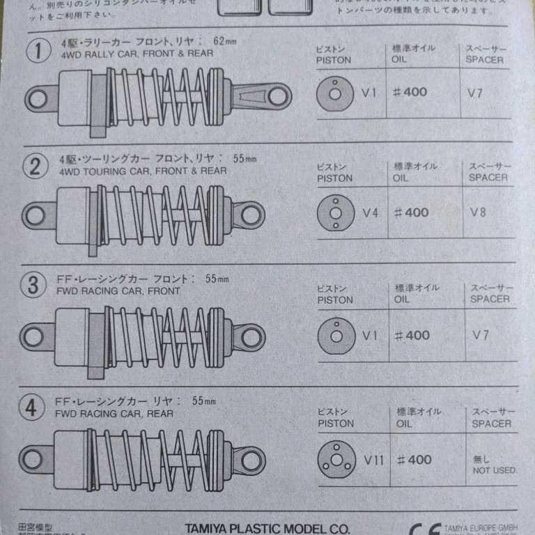 ローフリクションアルミダンパーセット(四駆 FF ツーリングカー&ラリーカー用) タミヤ