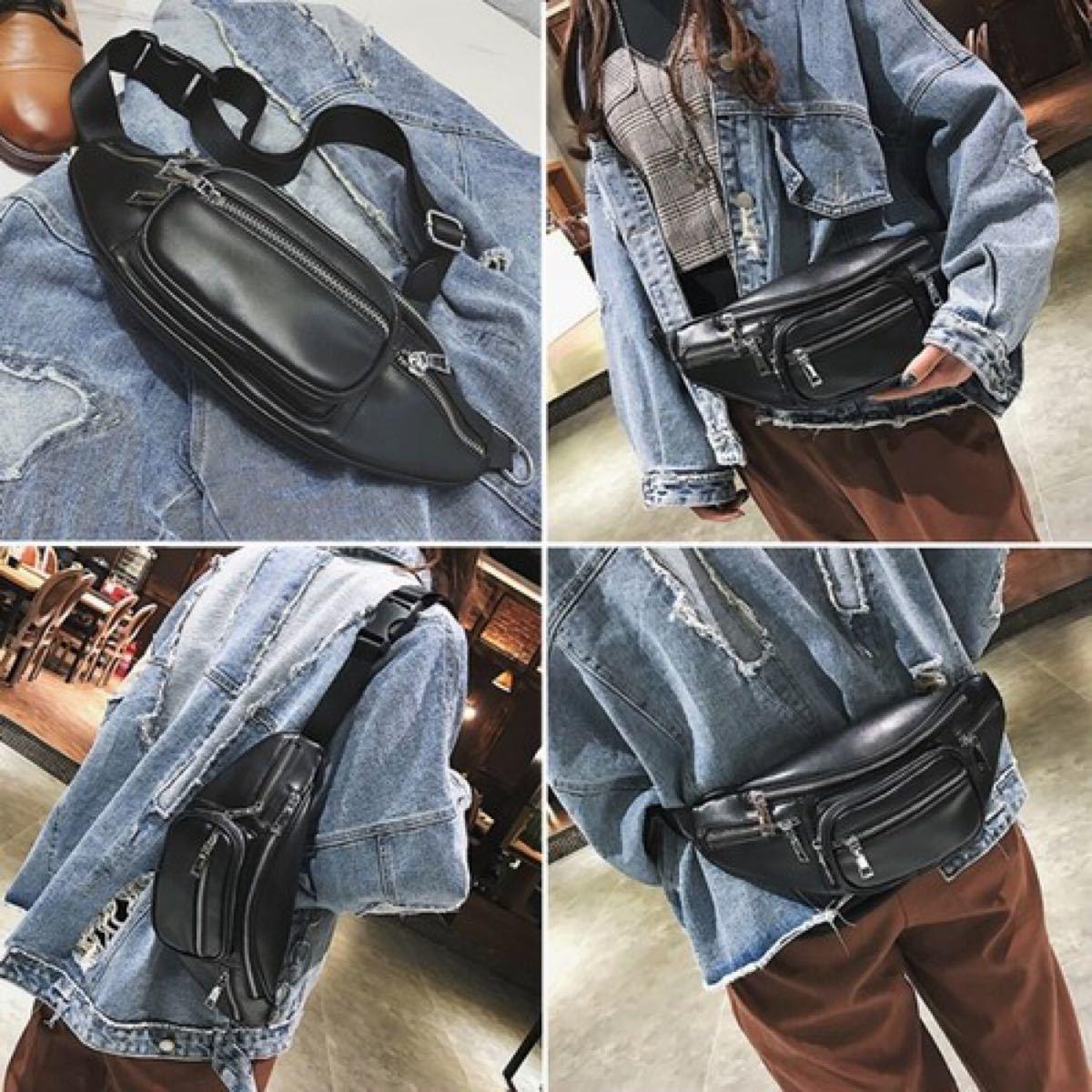 ボディバッグ3way ウエストポーチ 男女兼用 ポケット多め 黒 シンプル 鞄
