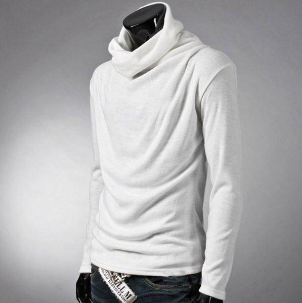 送料無料 未使用 ロングシャツ メンズシャツ 無地 タートルネック アフガンネック 長袖 ホワイト 白 2XL(実寸Lサイズ)