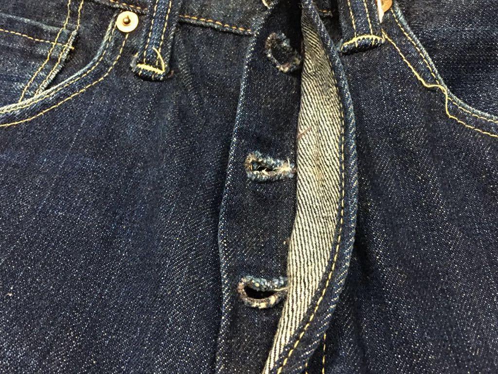旧ジョーマッコイ JOE McCOY ヴィンテージ501xx風 901デニムジーンズ パンツ 30/W79裾上げ未加工ロング丈REAL McCOY リアルマッコイズ_ボタンホールにホツレはありません