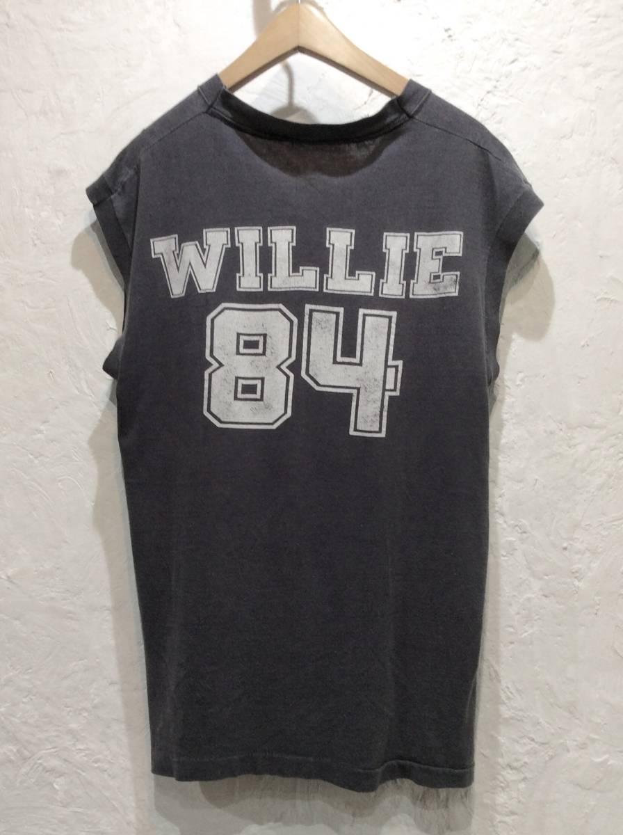 送料¥250◆80sビンテージテキサスWILLIE黒ノースリーブTシャツ_画像2