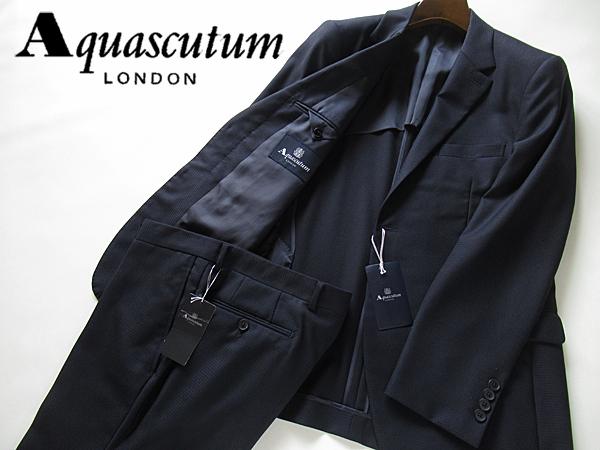 新品◆14万円 春夏 日本製★Aquascutum アクアスキュータム★高級 ウールスーツ AB5 濃紺