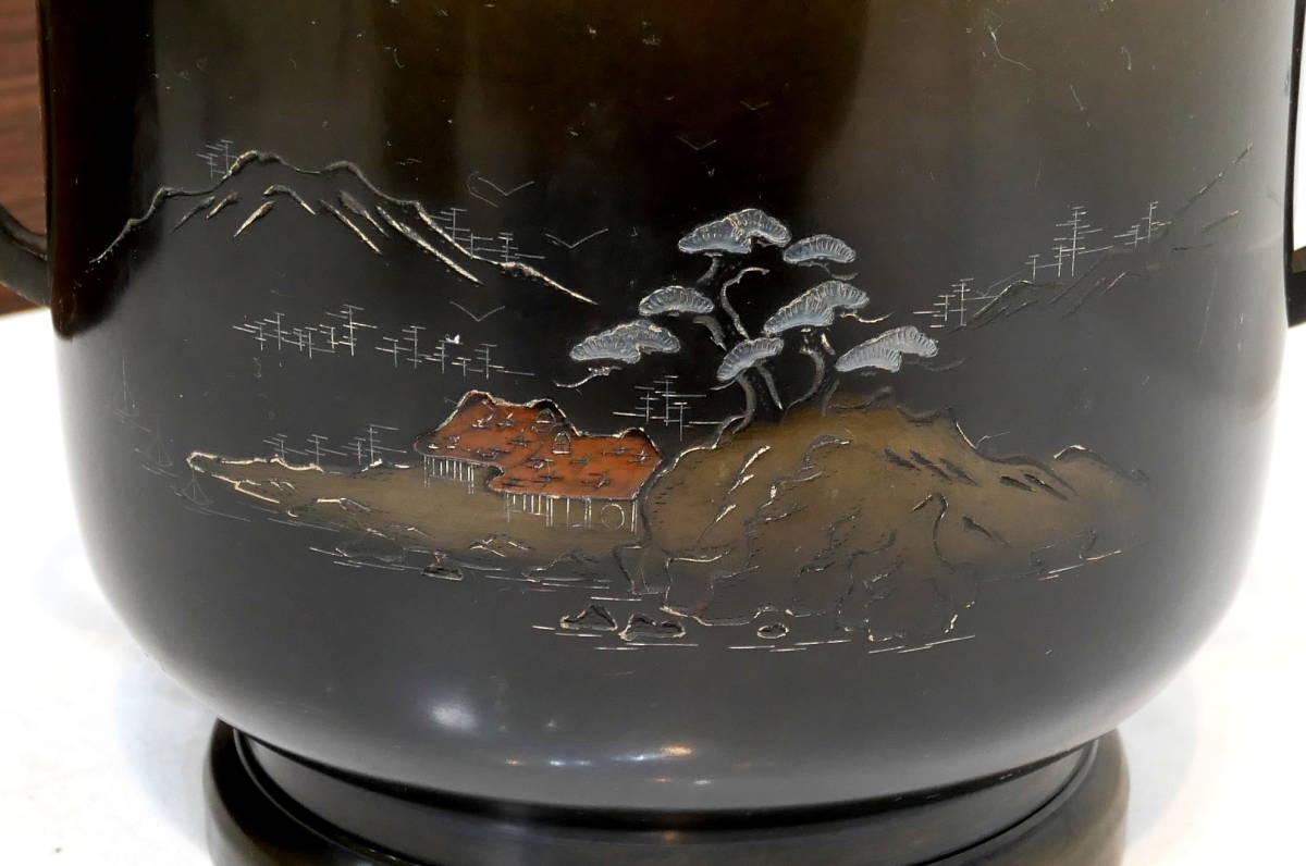 ▲(R205-B121)時代物 銅火鉢 真鍮 黄銅 共箱付き 直径26cm 高さ24cm 火ばち 置物 アンティーク 灰付_画像6