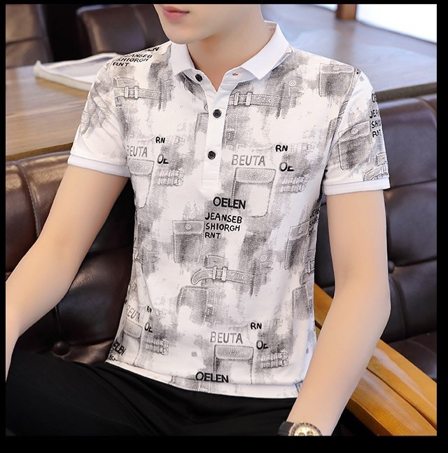 ポロシャツ【人気】総柄 半袖 ポロtシャツ 英字 シャツ トップス 韓国