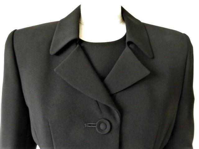 ■新品同様上質美品【AKI】アキ日本製 高級ブラックフォーマルワンピーススーツ7号S 礼服 喪服 セレモニースーツ s1167_画像6