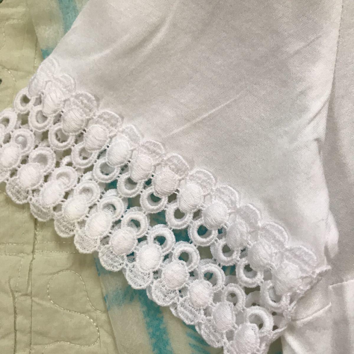 トップスTO BE CHIC お袖レースフリルカットソーTシャツ40ホワイト美品