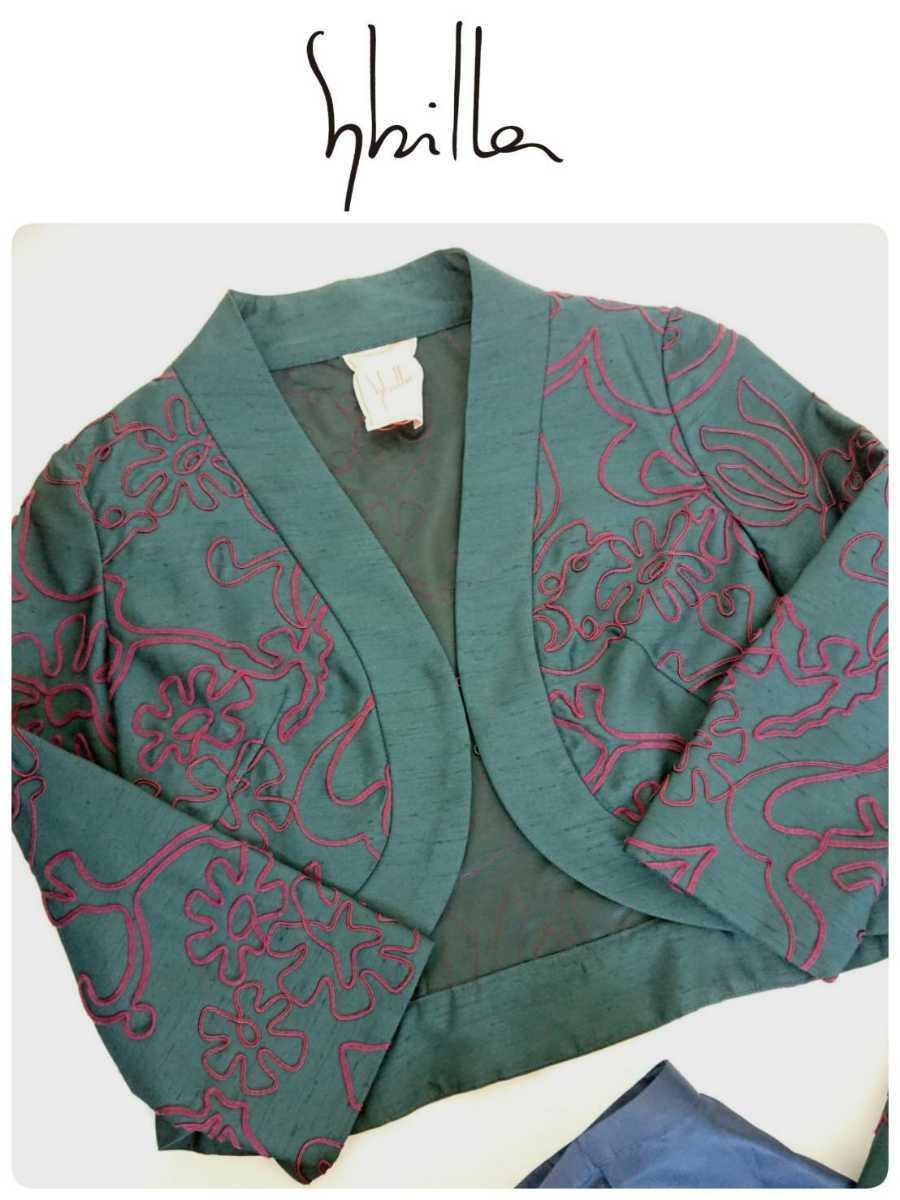 美品 Sybilla シビラ セットアップ ノーカラージャケット ワンピース 結婚式 二次会 フォーマルセレモニー M_画像4