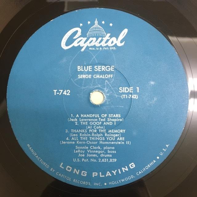 LP Serge Chaloff / Blue Serge USオリジ Capitol T-742 ターコイズラベル MONO 盤美品 サージ・チャロフ ブルー・サージ_画像4