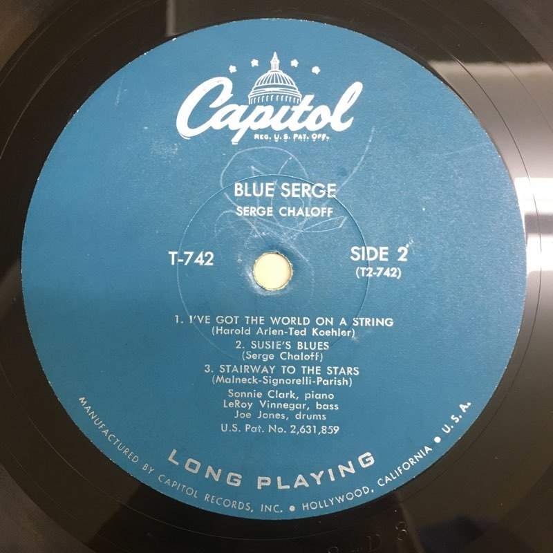 LP Serge Chaloff / Blue Serge USオリジ Capitol T-742 ターコイズラベル MONO 盤美品 サージ・チャロフ ブルー・サージ_画像5
