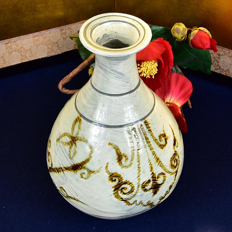 ◆ 韓国人間国宝 池順鐸 作 ◆ 刷毛目 鉄絵唐草文 花瓶 共箱 花瓶 共箱 花器 花入 壺 置物 高麗 中国朝鮮_画像2