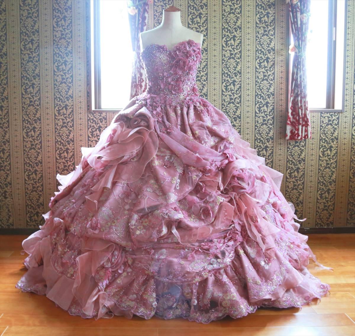 超豪華な逸品!高級ウエディングドレスMサイズ9号☆送料無料ピンクパープルカラードレス